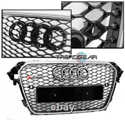 Mesh Rs4 Style Hex Grille Frame Black/chrome Trim For 2013-2016 Audi A4 S4 B8.5
