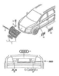 New Audi Genuine A4 B7 8e (2004-2008) S4 Logo Black Front Bumper Grill Chrome