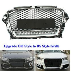 RS Style Front Bumper Grille Honeycomb Grill Black For Audi A3 RS3 8V 2014-2016