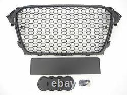 RS Style gloss black honeycomb mesh grill for Audi A4 B8.5 S4 2012-2016 grille