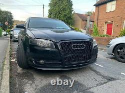 RS style black honeycomb mesh car grill compatible with Audi A4 B7 2005-2008