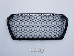 RS4 style gloss black honeycomb mesh car grill for Audi A4 B9 8W S4 2016+ grille