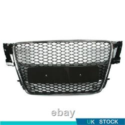 RS5 Style Front Bumper Honeycomb Grille Glossy Black For Audi A5 B8 2007-2011