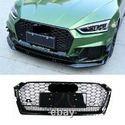 RS5 Style GLOSS BLACK Front Grill For Audi A5 S5 2017-2019 Honeycomb Mesh Grille