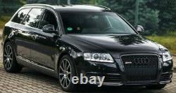 RS6 Look Style Front Grill Black Gloss Mesh Honeycomb Grille Audi A6 4F C6 S6 S