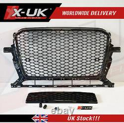 RSQ5 style front grill for Audi Q5 SQ5 8R 2012-2015 honeycomb gloss black