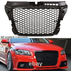 Rs Style Black Badgeless Debadged Race Mesh Grill Grille For Audi A3 8p 09-11