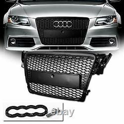 Rs4 Style (gloss Black) Front Grill (2008-2012) B8 Fit Audi A4 & S4