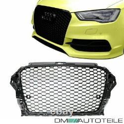 Set Honeycomb Black Gloss Front Grille +Fog Lights Cover fits Audi A3 8V 12-16