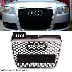Silver Black Honeycomb Mesh Badgeless Grill Debadged Grille For Audi A4 B7 05-07